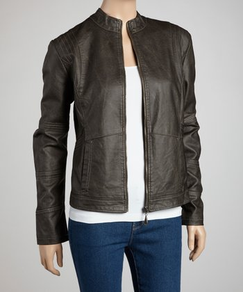 Dark Gray Moto Jacket - Women & Plus