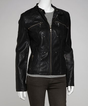 Black Tab-Collar Faux Leather Jacket
