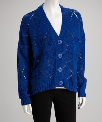 Royal Blue Diamond Knit Cardigan