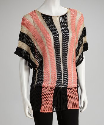 Salmon Stripe Knit Dolman Sweater