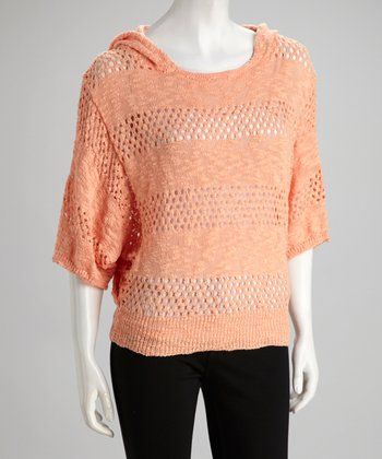 Peach Knit Stripe Hooded Dolman Sweater