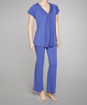 Blue Sheer Bliss Short-Sleeve Pajamas
