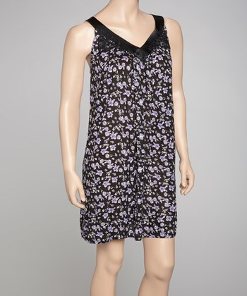 Black & Purple Evening Garden Floral Chemise