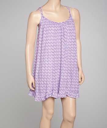 Lavender Taking Flight Crocheted Plus-Size Chemise