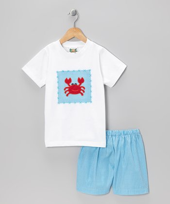 White Crab Tee & Blue Gingham Shorts - Infant & Toddler