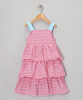 Pink & Blue Zigzag Ruffle Dress - Toddler & Girls
