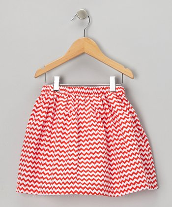 Red & White Zigzag Skirt - Toddler & Girls