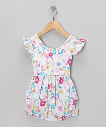 White Flowers & Butterflies Bubble Romper - Infant & Toddler