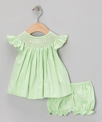 Green Rosette Angel-Sleeve Top & Bloomers - Infant