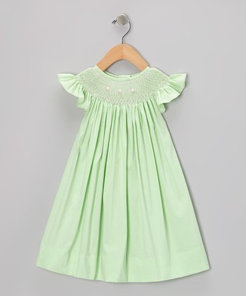 Green Rosette Angel-Sleeve Dress - Infant & Toddler