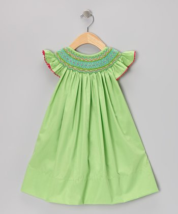 Green Geometric Angel-Sleeve Dress - Infant & Toddler