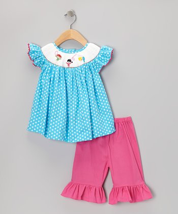 Blue Polka Dot Gymnast Top & Pink Ruffle Shorts - Infant & Toddler