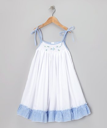 White & Blue Floral Smocked Dress - Infant, Toddler & Girls