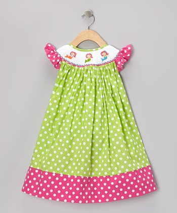 Green & Pink Polka Dot Mermaid Dress - Infant, Toddler & Girls