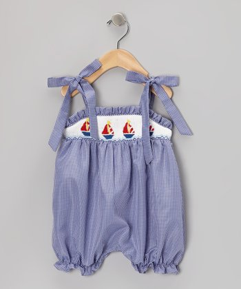 Blue & White Gingham Sailboat Bubble Romper - Infant
