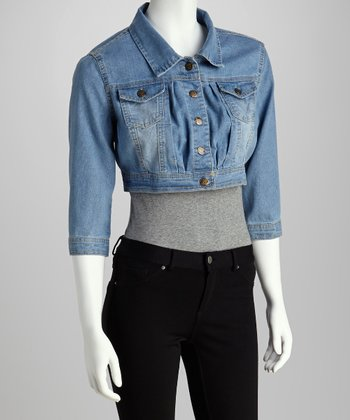 Medium Wash Crop Denim Jacket