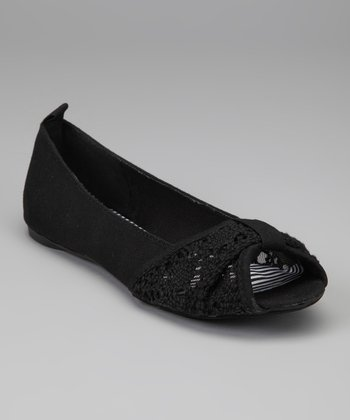 Black Crochet Fancy Peep-Toe Ballet Flat
