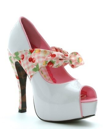 White & Red Cherry Logan Peep-Toe Pump