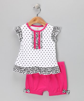 Pink & Black Polka Dot Ruffle Dress & Shorts - Infant