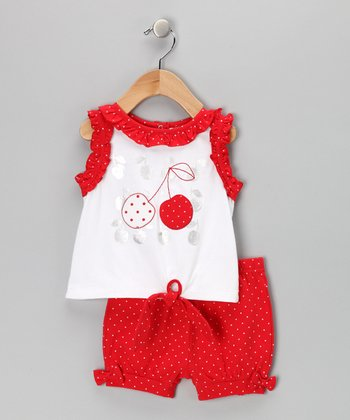 White & Red Ruffle Cherry Tank & Shorts - Infant & Toddler
