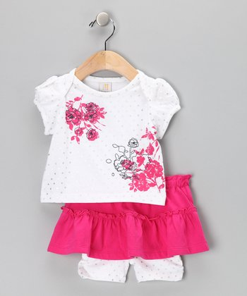 White & Pink Floral Tee & Skirted Shorts - Infant & Toddler