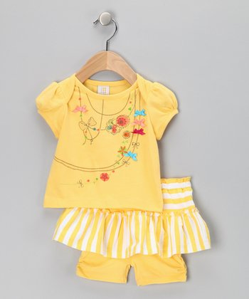 Yellow Floral Bow Tee & Skirted Shorts - Infant & Toddler