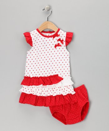 Red & White Polka Dot Bow Dress & Diaper Cover - Infant & Toddler