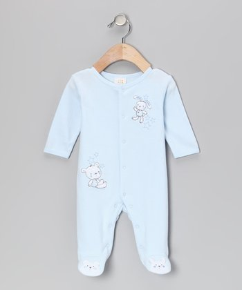 Blue Bear & Bunny Footie - Infant