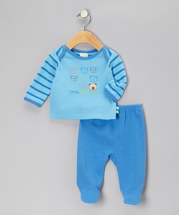 Blue Stripe 'Little Bears' Tee & Footie Pants - Infant