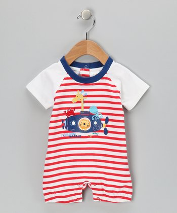 White & Red Stripe Animal Submarine Romper - Infant