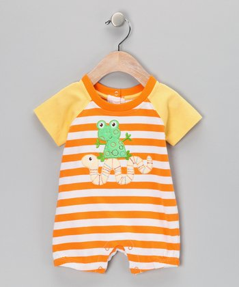 Orange Stripe Frog & Worm Romper - Infant