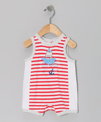 Red Stripe Anchor Romper - Infant
