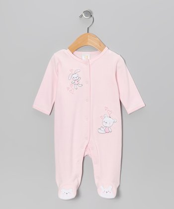 Pink Bunny Meets Bear Footie - Infant