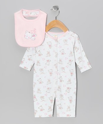 Pink & White Bunny Meets Bear Playsuit & Bib - Infant