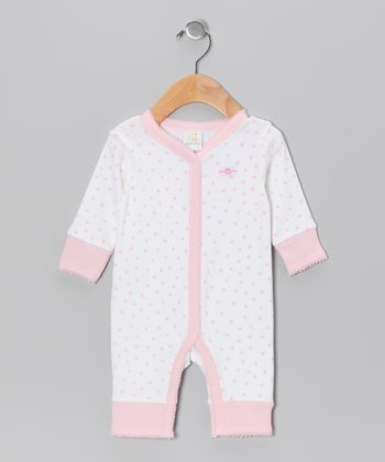 Pink & White Bear Playsuit - Infant