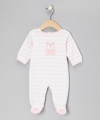 Pink & White Stripe Bear Footie - Infant