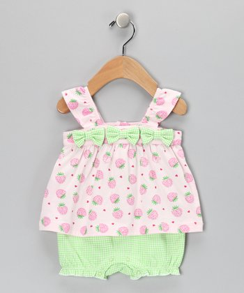 Pink & Green Strawberry Bow Romper - Infant