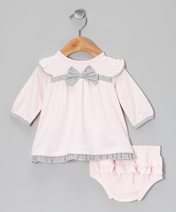 Light Pink & Gray Bow Dress & Ruffle Diaper Cover
