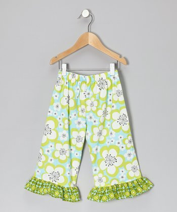 Aqua & Chartreuse Floral Ruffle Capri Pants - Toddler & Girls
