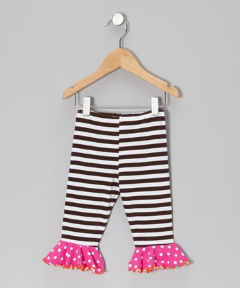 Brown & White Stripe Flounce Capri Pants - Toddler & Girls
