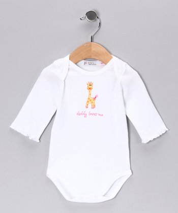 Sweet Cottons White & Pink 'Daddy Loves Me' Bodysuit - Infant