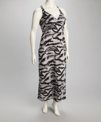 Gray & Black Zebra Maxi Dress - Plus