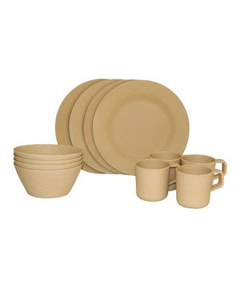 Tan Bamboo Dish Set