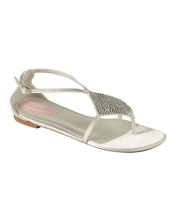 White Satin Embellished Tropical Sandal
