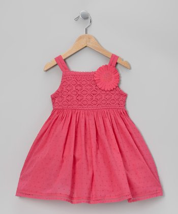 Pink Swiss Dot Daisy Dress - Toddler & Girls