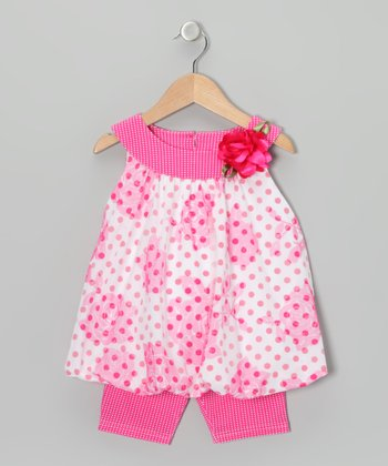 Pink & White Rose Bubble Tunic & Leggings - Toddler & Girls
