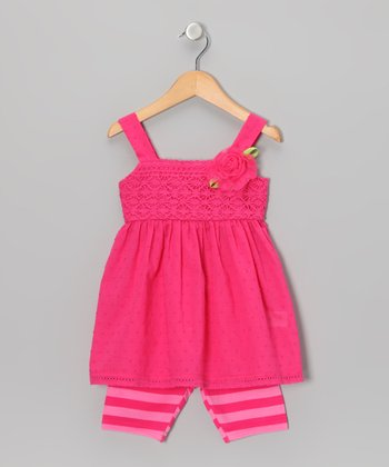 Hot Pink Rosette Dress & Stripe Leggings - Toddler & Girls