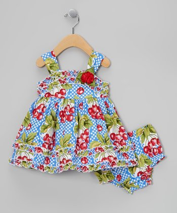 Blue Gingham Cherry Babydoll Dress & Diaper Cover - Infant