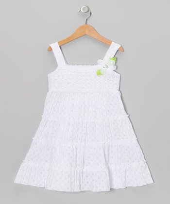 White Polka Dot Tiered Sundress - Girls