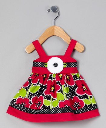 Hot Pink & Black Floral Sundress & Diaper Cover - Infant